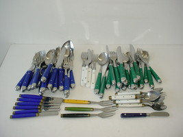 Lot of 65 Silverware Flatware Arts Crafts Assorted Colored Handles - $19.75