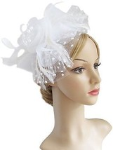 Flower Cocktail Tea Party Headwear Feather Fascinators Top Hat For Girls And - $33.85