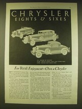 1931 Chrysler Car Ad - Six Roadster, Imperial Eight Close Couped Sedan - $14.99