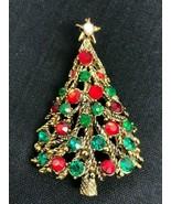 Vintage HOLLYCRAFT Christmas Tree Red Green Rhinestone Crystal Pin Brooc... - $42.08
