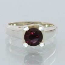 Red Purple Garnet Precision Cut Gemstone Handmade Silver Ladies Ring size 4.75 - £54.60 GBP