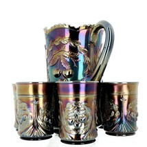 Antique Dugan Wreathed Cherry Amethyst Carnival Glass 7 Piece Water Set image 2