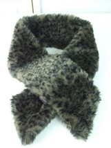La Viola Fashion Faux Fur Neck Scarf Charcoal Brown Wrap Around Snood De... - $19.79