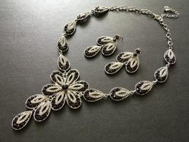 Purple rhinestones necklace, crystals necklace, wedding necklace, bridal... - $39.88