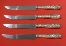Southern Rose by Manchester Sterling Steak Knife Set 4pc Texas Sized Custom - $247.10