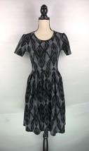 Lularoe Amelia Womens Black White Geometric Design Short Sleeve Dress Sz... - $26.72