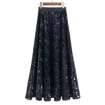 BLACK GOLDEN Sequined Maxi Skirt High Waist Full Sequined Maxi Skirt Pro... - $45.99