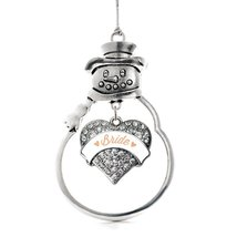 Inspired Silver Peach Bride Pave Heart Snowman Holiday Decoration Christmas Tree - $14.69