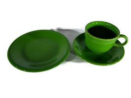 Fiesta Ware Shamrock Cup Saucer Dessert Plate Homer Laughlin Dinner Pottery - $8.84