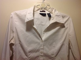 Ladies White Long Sleeve Open Collared Blouse by New York and Co Sz L image 2
