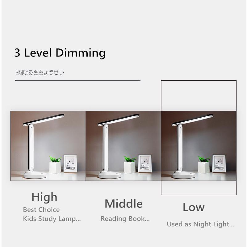 Rechargeable LED Desk Lamp Flexible Table Lamps 3 Level Dimmable Night Light USB