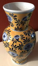 Beautiful Imperial China Seymour Mann Vase Rare Yellow w/Blue & White Fl... - $48.61 CAD