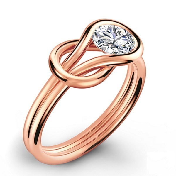 14k Rose Gold Plated 925 Silver Womens Loop Knot Stye Ring Round Cut Sim Diamond