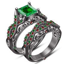 Princess Cut Green Sapphire Womens Bridal Ring Set 14k Black Finish 925 ... - $118.99