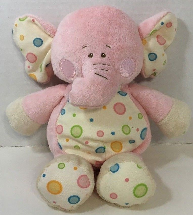 Primary image for baby Ganz Gumdrop elephant plush rattle pink white polka dots blue green orange