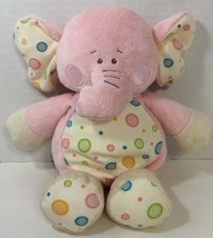 baby Ganz Gumdrop elephant plush rattle pink white polka dots blue green... - $24.74