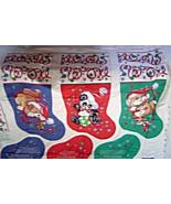 Vintage Petable Stockings Cat Dog Panda Panels Cotton Fabric Christmas - $24.99