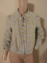 Idra Anthropologie Slate & Sun Plaid Ruffle Zip Up Cotton Bomber Jacket 2 XS S - $56.99