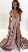 2018 deep v neck blush pink long prom dress with side slit, formal eveni... - $155.00