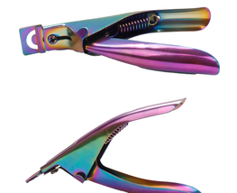 Stainless Steel Rainbow Color Titanium U Word False Nail Clipper image 3