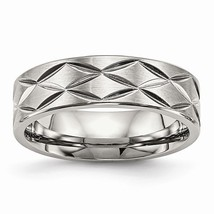 Men's 6.5.mm Stainless Steel Brushed & Polished Diamond Cut Band - $69.99