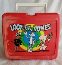 Vtg 70s Looney Tunes Lunch Box Bugs Bunny Daffy Porky Red Plastic 1977 USA Warnr - $9.88