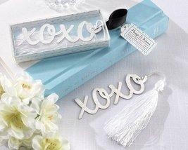 """Hugs & Kisses"" Silver-Finish Bookmark with Elegant White-Silk Tassel - $7.86"