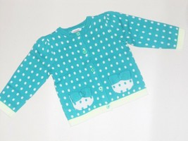 Gymboree Toddler Girls Teal Stripes Dots Cardigan Sweater 18-24 Months  NWT - $12.86