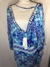 La Blanca Womem Blue Geometric boho Blouse Scoop Neck Short Sleeve Size XL - $32.73