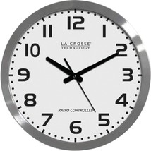 "La Crosse Technology WT-3161WH 16"" Brushed-Metal Atomic Wall Clock - $76.26"