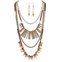 PalmBeach Jewelry Vintage-Inspired Necklace & Earrings Set in Antique Gold Tone - $19.49