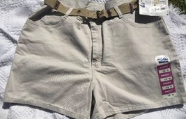 Misses 16 M Riders by Lee Khaki Sand Beige denim shorts w/ belt Jeans Fi... - $14.53