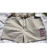 Misses 16 M Riders by Lee Khaki Sand Beige denim shorts w/ belt Jeans Fi... - $14.53