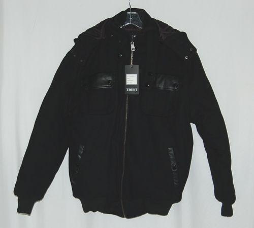 Trust Brand WB155J Wool Nylon L Black Coat Zippered Hooded