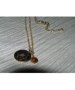 Estate Simple Goldtone Chain with Etched Round Flower Pendant & Brown Te... - $9.85