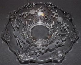 "INDIANA GLASS CONSOLE BOWL DOUBLE FLEUR DE LIS 13"" FLARED BOWL WHEEL ETCHED - $31.99"