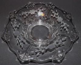 """Indiana Glass Centerpiece Bowl Double Fleur De Lis 13"""" Flared Bowl Wheel Etched - $39.99"""