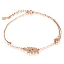 Lovely Elephant Bead Rose Gold Plated Anklet Bracelet Chain Adjustable - $19.99