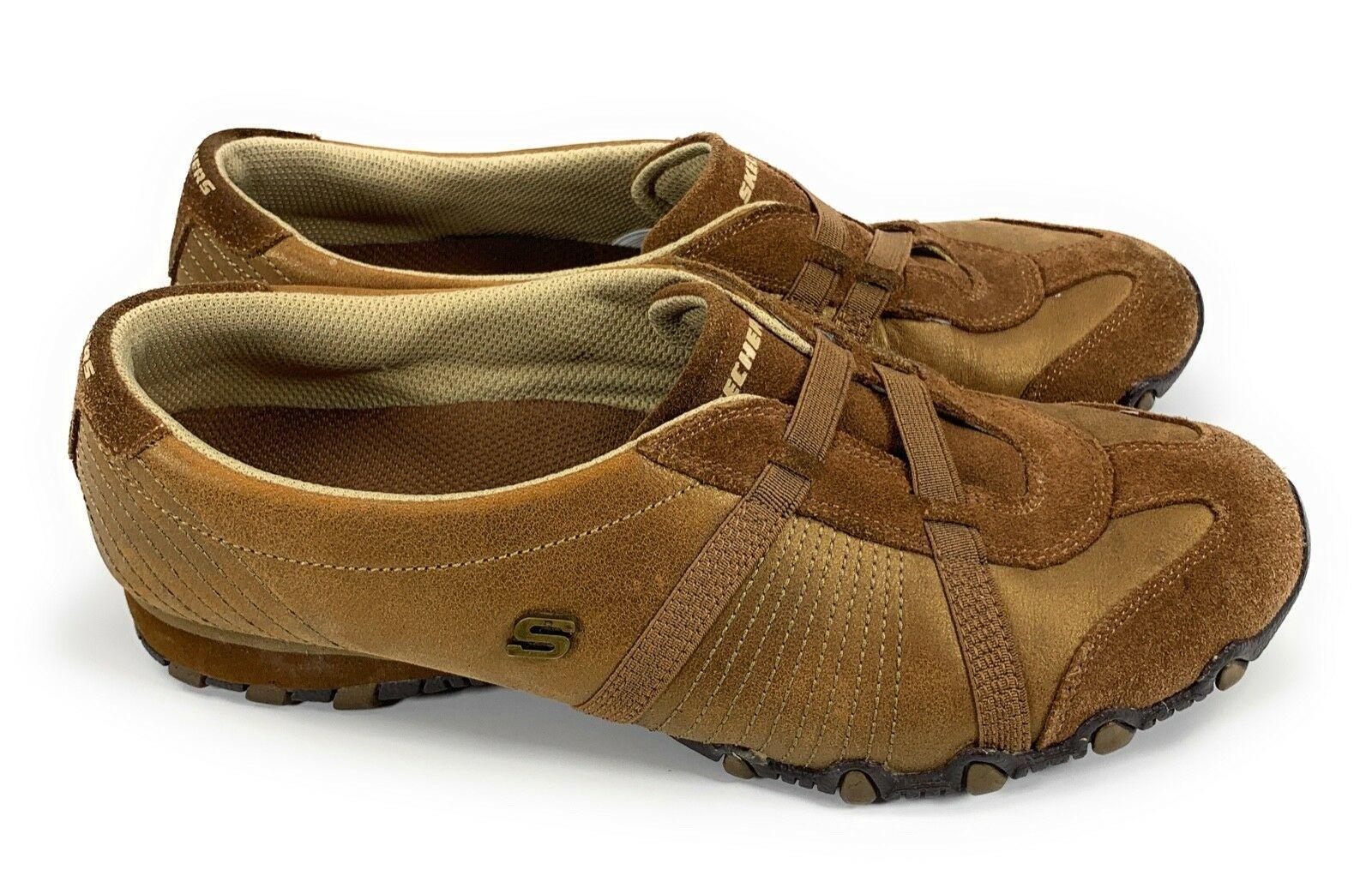 Skechers 46577 Bronze Brown Leather Elastic Strap Biker Sneakers Shoes Women's 9