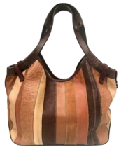 Lucky Brand Vintage Inspired Striped Patchwork Boho Hobo Leather Bag - $49.00