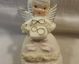 Vintage Napco Japan Ceramic June Birthday Girl Angel Figurine S1366 Flower Chip