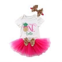 Baby Kids Girl Pineapple Cotton Romper+Tulle Tutu Skirt+Sequins Headband... - $11.29