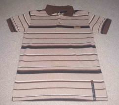 Red Ape Boy's 8 10 Brown Striped Polo Shirt Gold Emblem & Buttons Short Sleeve - $2.96