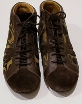 """Women's COACH """"Hammond"""" Lace Up Canvas Leather High Top Shoes Made In Italy 8.5 - $35.50"""