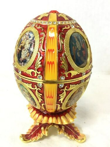 Vintage Red and Gold Egg Metal and Enamel Trinket Box Nativity Christmas