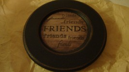 Country new small round wood decor plate / FRIENDS - $9.49