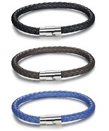 FIBO STEEL 3PCS Stainless Steel Braided Leather Bracelet For Men Women W... - $25.38