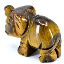 Tiger's Eye Gemstone Tiny Miniature Elephant Figurine Hand Carved in China image 3