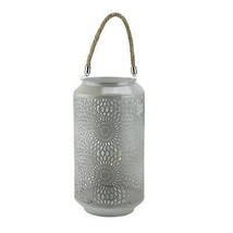 "Gerson 11.75"" Gray Metal LED Indoor/Outdoor B/O Lantern with Rope Handle - $38.11"