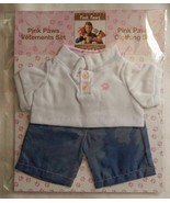 NEW Pink Paws Clothing Set Blue Jeans & White Polo Shirt Fits Build A Be... - $13.99